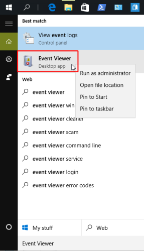 Windows 10: finding Event Viewer