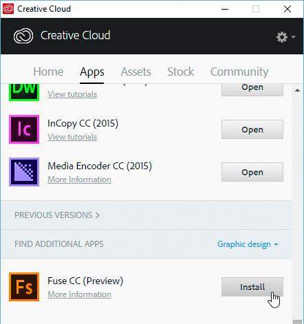 Installing Adobe Fuse CC