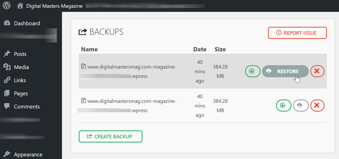 All-in-One WordPress Migration: Backups