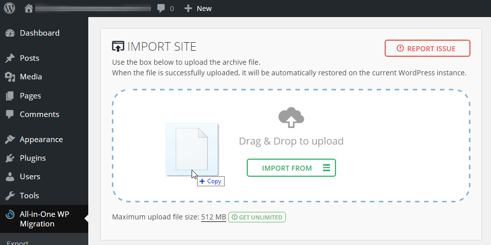 Importing a site backup using the site migration feature of All-in-One WP Migration