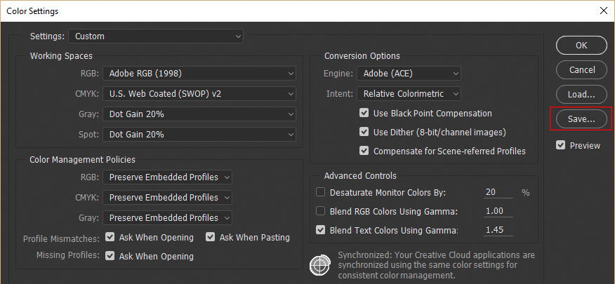 Saving custom color settings in Photoshop CC