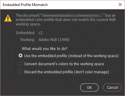 Handling profile mismatches when opening a file in Photoshop CC
