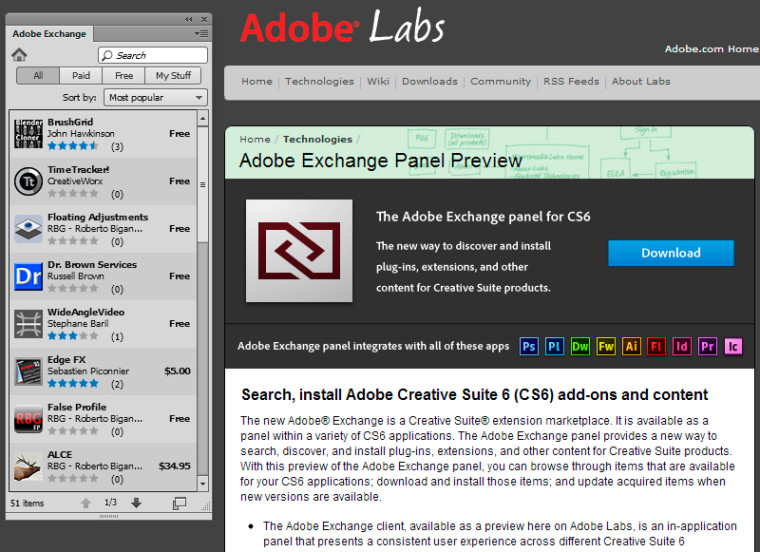 Get the Adobe Exchange Panel for your CS6 Apps