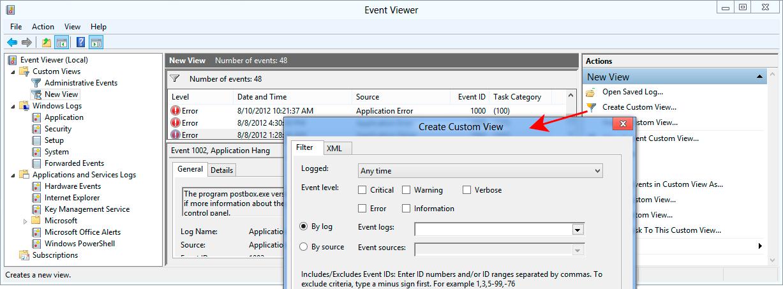 Event Viewer in Windows 8