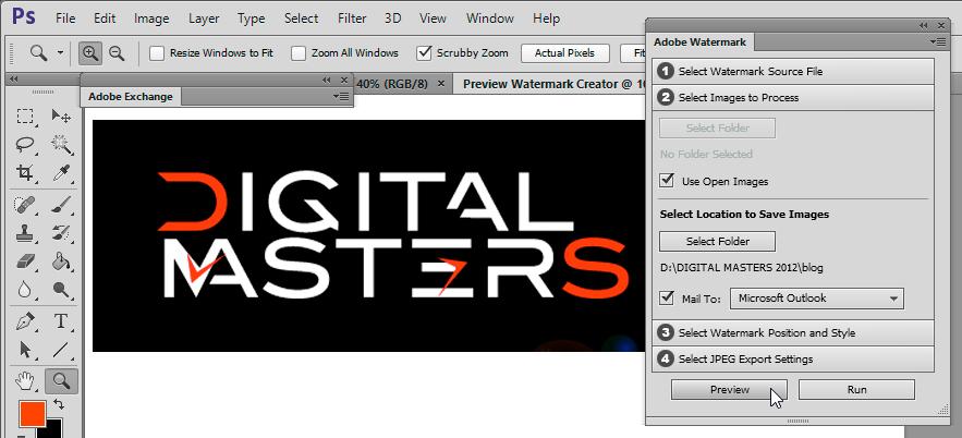Adobe Watermark addon for Photoshop CS6