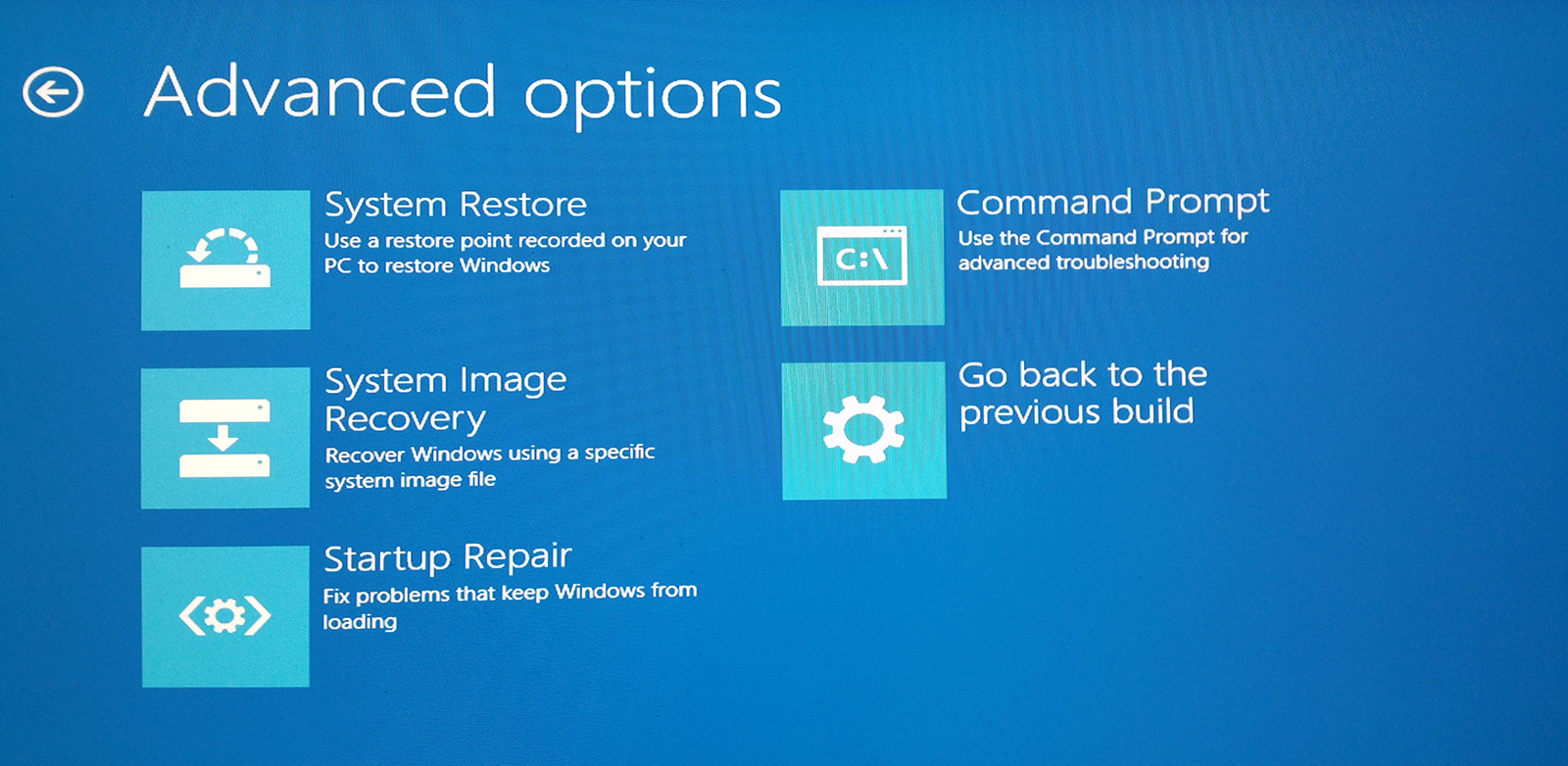 Repairing Windows 10: Advanced Options