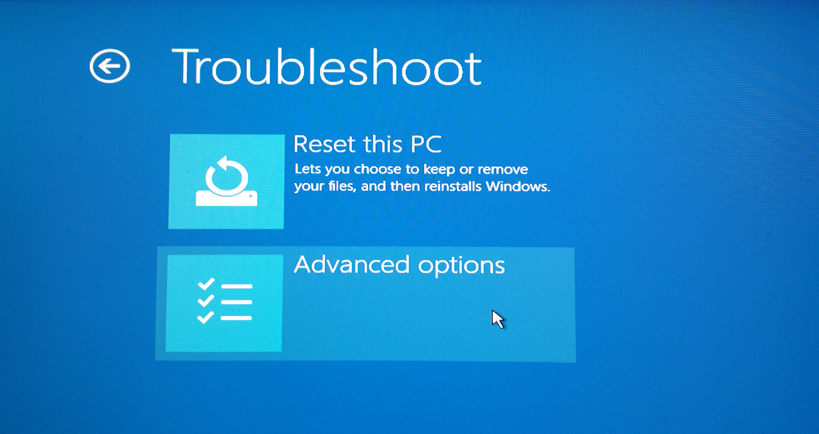 Repairing Windows 10: Troubleshoot