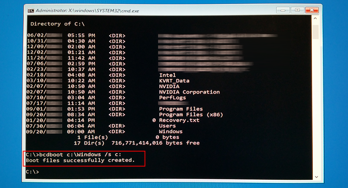 Repairing Windows 10: boot files successfully created