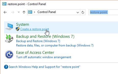 Windows 10: create a restore point