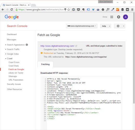 Fetch as Google: 301 permanent redirect headers