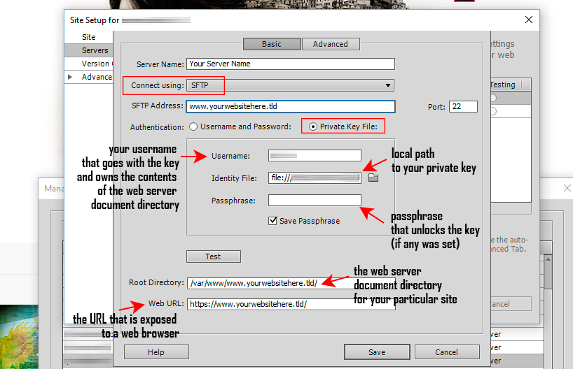 SFTP access in Dreamweaver: Dreamweaver settings for a Linux instance on Amazon EC2