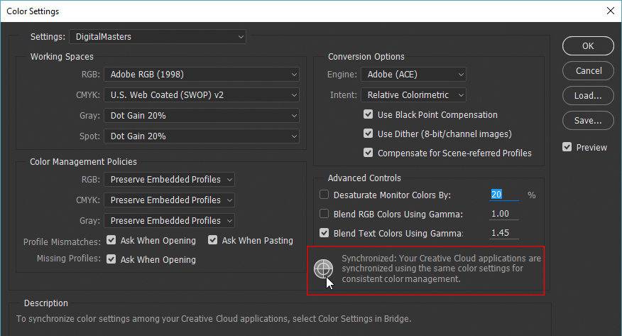 Verifying that Bridge has synchronized color settings with Photoshop CC