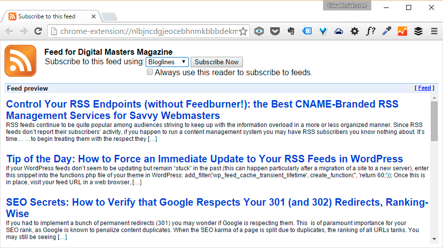 An RSS feed in Google Chrome with the RSS Subscription Extension (by Google)