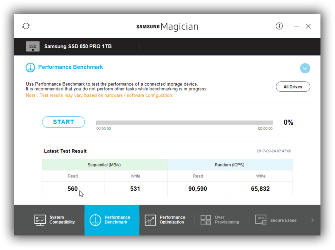 The Performance Benchmark section of Samsung Magician