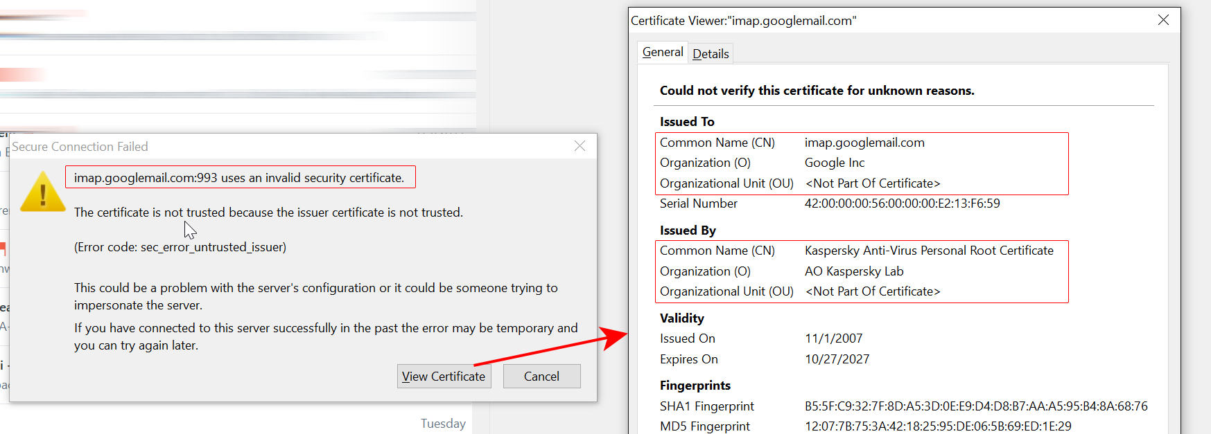 Gmail certificate warning in Postbox caused by Kaspersky Lab's internet security software