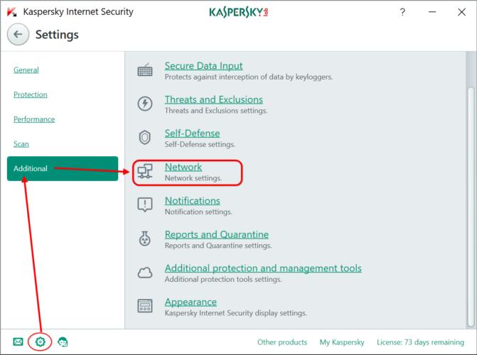 Edit network settings in Kaspersky Internet Security