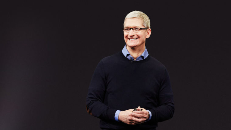 Apple's CEO, Tim Cook on stage