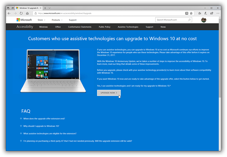 does microsoft still offer free upgrade to windows 10