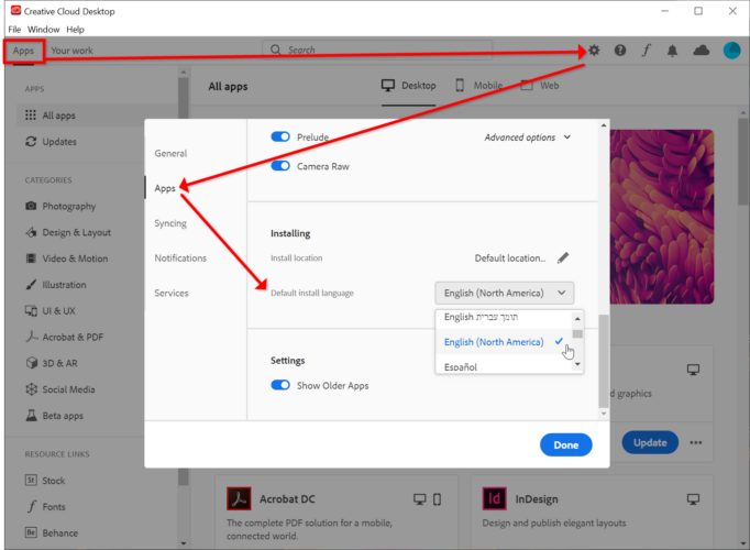 Change language settings in Adobe Photoshop 2020